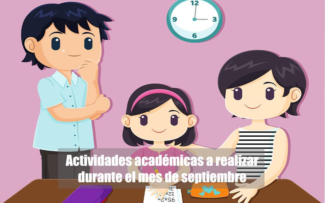 Actividades académicas a realizar durante el mes de septiembre